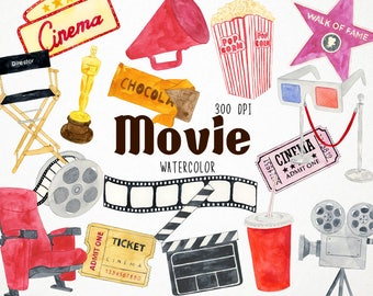 Movie Clipart, Hollywood Clipart, Movie Tickets, Movie Night Clipart, Movie Clip Art, Movie Party, Digital Clipart, Movie Theater, Ticket