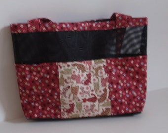 """Black mesh tote bag with """"Cat"""" design fabric pockets"""