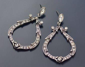 Crystal Loop Wedding Earrings, Large Hoop Earrings, Crystal Hoops, Silver Bridal Earrings, Silver Wedding Jewelry, Vintage Earrings E1154