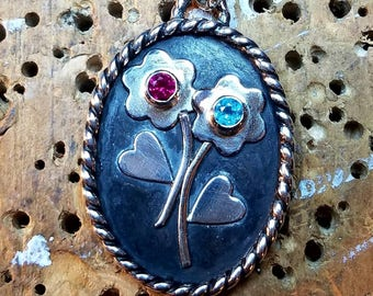 """Two Birthstone Bouquet Pendant in Sterling Silver with 18"""" Chain"""