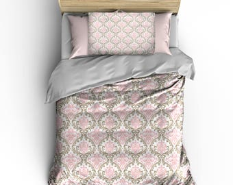 Custom Bedding Classic Damask White, Taupe, Pastel Pink  - available Toddler, Twin, Full/Queen or King Size