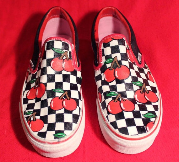 vans cherry checkerboard slip ons
