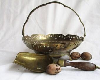 Vintage Brass Filigree Serving Basket Brass And Wood Scoop Vintage Home and Living Brass Serving Bowl Basket Vintage Import Brass Nut Basket