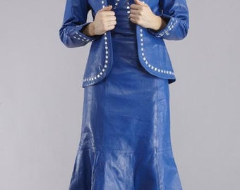 Classic Blue Leather Suit with Bead Work-Jacket and Dress