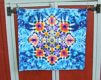 Lotus Blossom Mandala Tie Dye Tapestry - Kaleidoscope -  36in x 32in - Medium weight cotton
