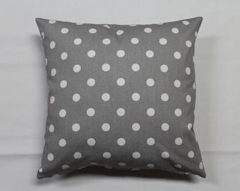 Grey and White Polka Dot Pillow Cover-16 inch Pillow Cover-Decorator Pillow Cover