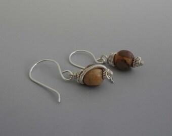 Small dangle earrings, gemstone earrings, Jasper earrings, small drop earrings, silver earrings, gift for her (embrace)