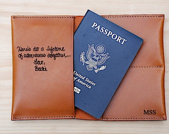Leather Passport Cover, Personalized, Little by Little one Travels Far, Anniversary, Long Distance Friend Gift, Travel, Your Handwriting
