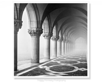 Venice Photography Art Print, Architecture Wall Art, Travel Gift For Husband, Black and White Wall Decor, Doges Palace, Wall Art Print