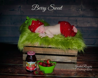 Baby Strawberry Hat and Pants Set
