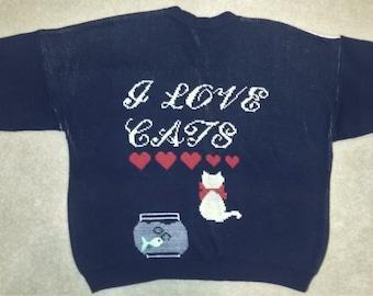 Vintage Cat-Themed Short Sleeve Cardigan Sweater Lg/XL