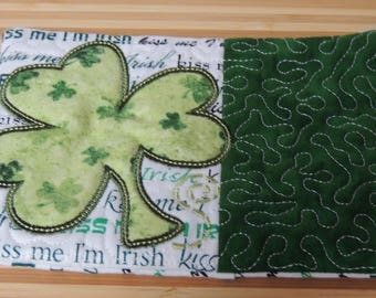 Shamrock St Patricks Day Applique and Embroidered Mug Rug Coffee Mat Candle Mat Drink Coaster Gift Decorative Snack Table Desk Mat Irish