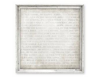 Reclaimed Wood Canvas Art Print - Words of Wisdom