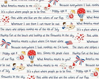 Storybook Americana - Main in Red White Blue Multi - Cotton USA Quilt Fabric - by Whistler Studios for Windham Fabrics - 42342-X (W4218)