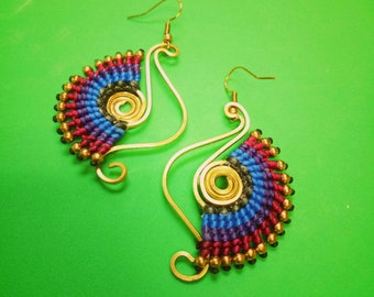 Pink Blue seahorse shape Handmade earrings