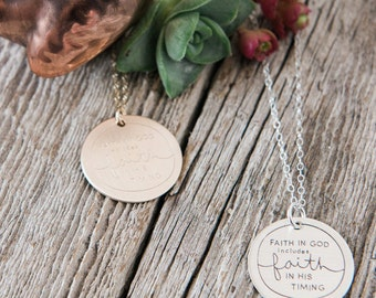 Faith in God Includes Faith in His Timing, Faith in God Necklace, Faith in God Includes Faith in His Timing Necklace, Deena Rutter, Faith