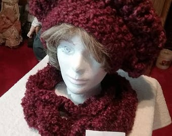 Burgundy Oversized Tam Hat and Scarf Set