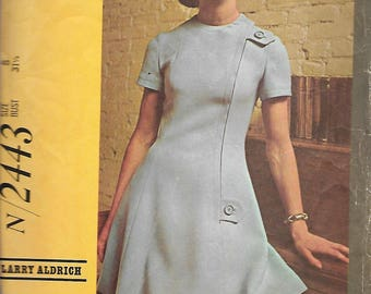 McCall's N2443 Larry Aldrich Designer Sewing Pattern, Misses Dress In Two Versions, Size 8, Bust 31 1/2