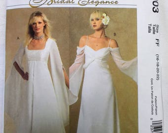 McCalls 5003 Bridal Elegance Renaissance Wedding Gown Empire Bell Sleeves Off Shoulder Uncut Size 16 18 20 22