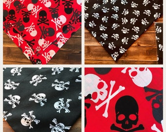 """Pirate Dog Bandana Tie-on Extra Large 30"""" by 16 """" The Jolly Roger Pirate Skulls Red or Captain Jack Black"""