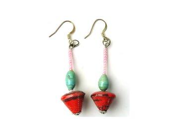 Rainbow Earrings, Dangle Earring, Drop Earring, Origami Earring, Red Earring, Textured Earring, Ear Art, Native Earring's, Pink Jewellery