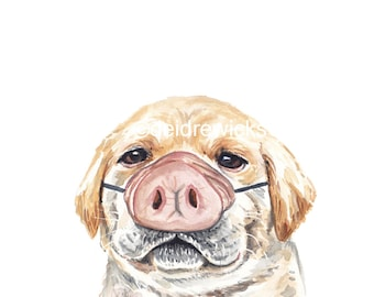 Yellow Lab Watercolour Print - Puppy Dog Painting, Pig Nose, Nursery Art, Funny Drawing