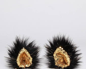 Sparkle Gold/Black - Handmade Clip in Animal Ears - Festival Fashion & Cosplay