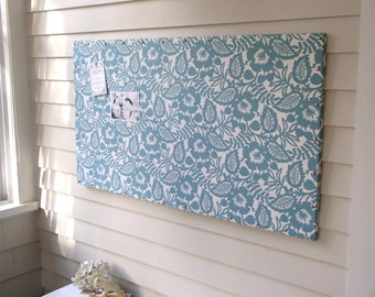 "Huge X-Large Fabric Memo Board - 24 x 44"" MAGNETIC Bulletin Board - Hardwood Construction, Waverly Blue White Fabric and Silver Nail Tacks"