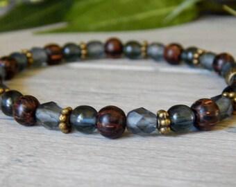 Wood Bracelet, Blue Bracelet, Simple Bracelet, Bead Bracelet, Beaded Bracelet, Wooden Bracelet, Boho Bracelet, Beaded Jewelry, Gift for Her