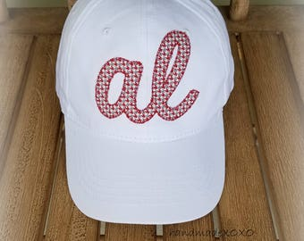 AL Bama BallCap- Alabama houndstooth applique-Preppy College Hat-AL Ballcap-Roll Tide-Team Spirit Ballcap-State Applique hat-