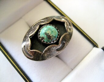 Turquoise and Sterling Silver Navajo Shadow Box Ring