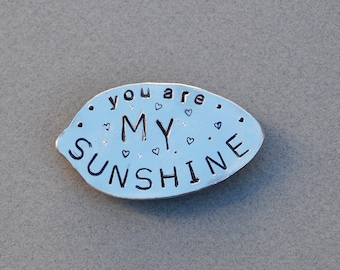 YOU Are My SUNSHINE // MAGNET Stamped Spoon recycled // Hearts and dots * Great gift for mom * Grandma * daughter * Man Gifts Gifts under 15