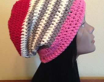 Pink Slouchy Hat/Slouch Beanie/Shabby Chic Hat/Unique Slouchy Hat/Unique Beanie