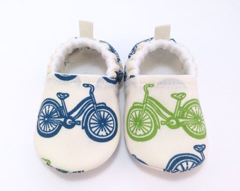 Bicycle Baby Shoes, Soft Sole Baby Shoes, Baby Booties, Toddler slippers, baby moccs, Organic baby shoes, vegan baby, gender neutral baby