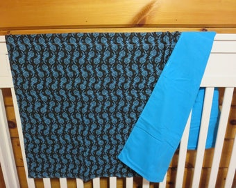 Unlined Black and Blue Feathers -  Crib Blanket-Crib Blanket- Baby Receiving Blanket