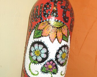 Hand painted bottle  day of the dead  #25
