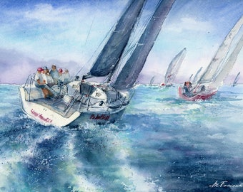 Fine art print. Sailing boat on Textured Fine Art Paper