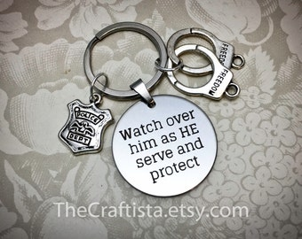Police Officer Keychain, PK, Police Protection Keychain, Watch Over Him, Police Keychain, Gift for Police Officer, Police Prayer Keychain