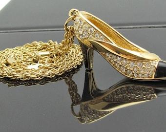 Crystal Shoe, Signed Swarovski Shoe Pendant Necklace, Vintage Swarovski, Rhinestone Shoe, Authentic Swarovski Crystal, Spectator Pump