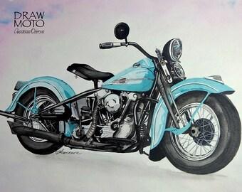 Watercolor picture motorcycle Harley Davidson Knucklehead f45rs 1941 original retro car