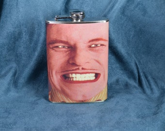 SALE 11.99 (was 19.99) Monty Python's Flying Circus - Grinning Man Cartoon Cut Out Animation - 8 oz stainless steel flask (RN 1639)