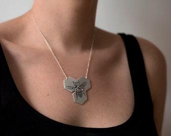 Hexagon Necklace - Bee Necklace - Silver Hexagon Jewelry - Beehive Necklace - Geometric Necklace - Honeycomb Jewelry - Honeybee Necklace