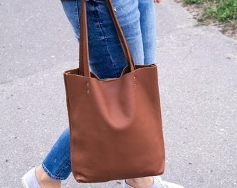 Leather Tote Bag, Tote Handbag, Leather Purse, Leather Bag, Leather Shopper, Women's Bag, Leather Laptop Bag, Camel Brown Leather Tote