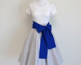 PREORDER - Star Wars R2-D2 Inspired Silver Circle Skirt and Royal Blue Sash