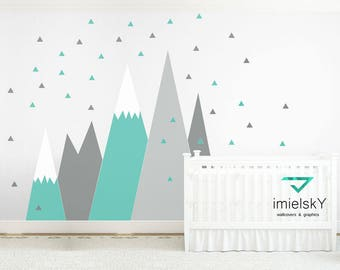 Mountains Wall Decal NURSERY Crib Wall Art Triangle Snowflake Wall Protection Kids Room Corner Pattern Sticker self adhesive #mountains020