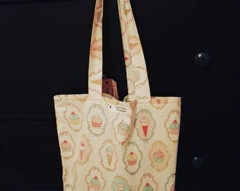 Tote cotton bag pink cupcakes