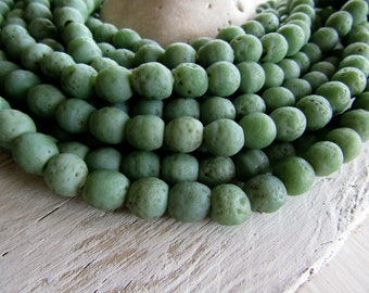 Round lampwork glass beads, rustic green no2 , opaque matte mild  gritty textured aged look indonesian 9 to 10mm (12 bead)7ak1-4