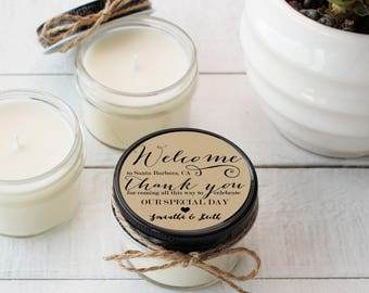 Wedding Favor Candles - Welcome Label Design - Thank You Wedding Favors   Wedding Welcome Bag Favors   Soy Candle Favor   Set of 12