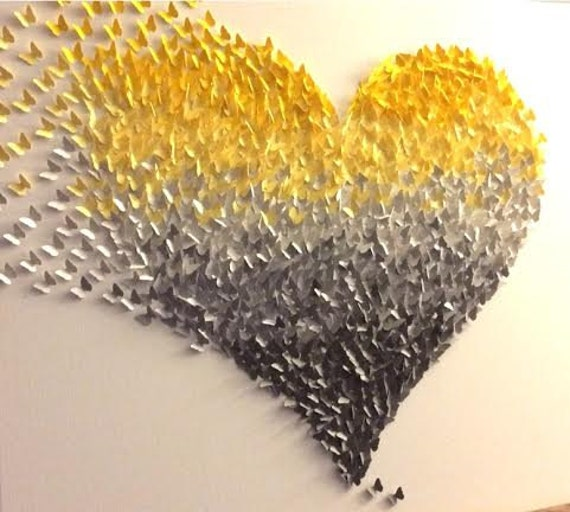 Items similar to 3D Butterfly Wall Art , Yellow and Grey Ombre ...