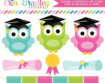 80% OFF SALE Graduation Clipart School Owls Graduation Clip Art Graphics with Diplomas Award and Bunting Personal & Commercial Use